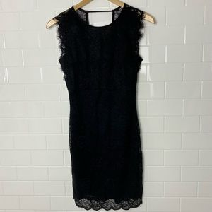 H&M Black Lace Open-Back Mini Dress